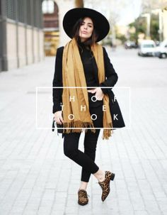 Shop the Look: Wilde, extravagante Schuhe im 'Leoparden'-Style und ein senfgelber Schal, heben das 'Black in Black'-Outfit hervor. Look nachshoppen: http://www.sturbock.me/?search=set35
