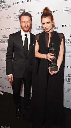 And the winner is: Billie proved to be the toast of the evening as she took home the gong ... Best Actress, Best Actor, Freddie Fox, Natasha Richardson, Laurence Fox, Billie Piper, James Mcavoy, Celebrity Red Carpet, Ex Husbands