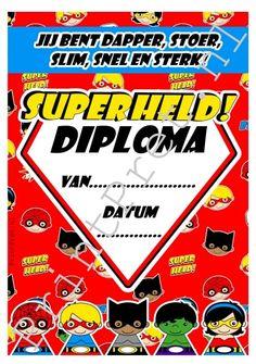 Superheld diploma. Onderdeel van het leuke zelf te downloaden Superhelden feestpakket. http://printpret.nl/Superheld%20feestpakket