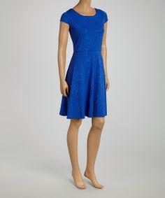 Cobalt Abstract Cap-Sleeve Dress