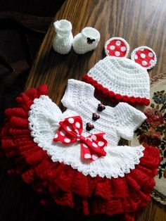 White crochet Minnie mouse dress set with lace by BabyBeautiful801