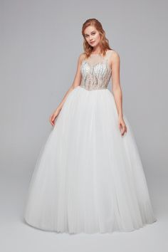 Illusion neckline tulle ball gown with embellished bodice. Tulle Balls, Tulle Ball Gown, Ball Dresses, Ball Gowns, Bridal Undergarments, Bridal Bolero, Illusion Neckline, Bridesmaid Dresses, Wedding Dresses