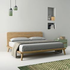 Oak double bed EASY by Dall'Agnese design Imago Design, Massimo Rosa Oak Double Bed, Double Beds, Bedroom Furniture, Home Furniture, Furniture Design, Bedroom Bed, Bedroom Decor, Bedding Decor, Bedding Sets