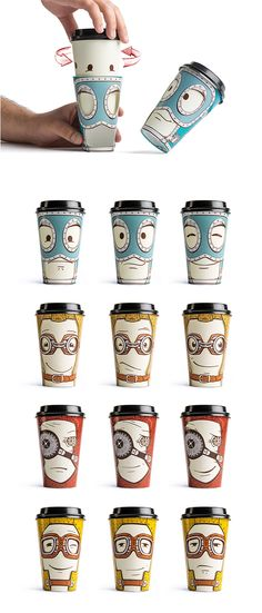 Gawatt emotions - Boite, Gobelet à visage multiface. The Challenge   Above the main identity of the Gawatt take-out coffee-shop, we had a task of creating a limited series of souvenir cups.   The Solution   We came up with an idea of cups with altering emotions. Customers can change the face expression of their cup personage by turning the exterior sleeve.  Working Group  Art director: Stepan Azaryan Graphic Designer: Karen Gevorgyan Illustrator: Narine Manvelyan