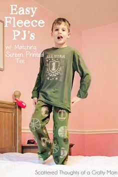Tutorial  Fleece Pajamas Bottoms and Screen Printed Tee Sewing Patterns For  Kids b3d31e4a7