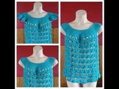 Learn How to Crochet Women's Summer Time Blues Top size L only with optional sleeves #TUTORIAL #230 - YouTube