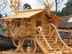 Log cabin tree house