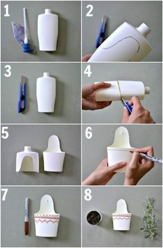 Reuse plastic containers and make some cute planters | Blueberry segmentS