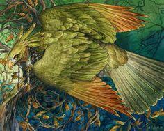 Mossgold Fantasy Green Hawk Forest Print par windfalcon sur Etsy