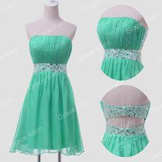 ~ Courte Robe de mariée soirée Parti Bal, demoiselle d honneur Robe Mariage Vert