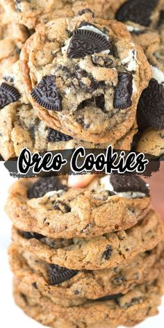 These oreo cookies are loaded with 3 cups of chopped oreos! Some of the best cookies and cream cookies weve tried! Crispy on the outside and chewy on the inside! Put oreos INSIDE cookie dough! Mini Desserts, Just Desserts, Delicious Desserts, Yummy Food, Oreo Desserts, Yummy Dessert Recipes, Recipes For Desserts, Oreo Treats, Tasty