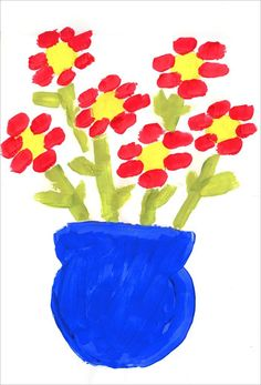 Great introduction to painting!  For complete instructions on how to create this flower painting, go to:  http://www.artprojectsforkids.org/2008/08/flower-painting.html