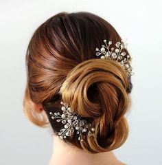 twisted bridal updo with beaded hair pieces