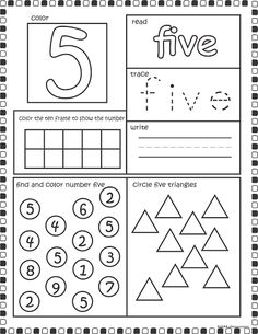 number 5 worksheets for children activity shelter kids worksheets printable pinterest. Black Bedroom Furniture Sets. Home Design Ideas