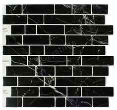 """Crystiles Peel and Stick Self-Adhesive Vinyl Wall Tiles, Itemno. 91010847, Black Marble, 10"""" X 10"""", Set of 6 ** You can get more details here : Home Decorative Accessories"""
