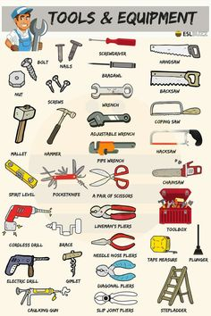 List of tools in English with useful pictures and example sentences. Learn these tools names to improve and increase your vocabulary words in English. English Vocabulary Words, Learn English Words, English Phrases, English Study, English Grammar, English Writing Skills, English Lessons, English Tips, English English