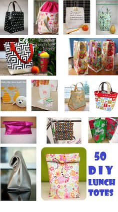 fresh juniper: 50 Lunch Totes and Bags with Tutorials - The DIY Lunch Collection