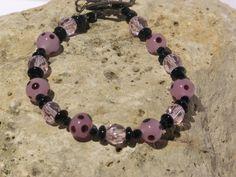OOAK PINK & BLACK Handmade  Bracelet by blingo10 on Etsy