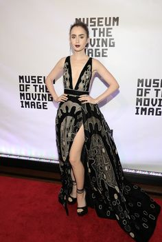Actress Lily Collins in ELIE SAAB Haute Couture Autumn Winter 2016-17 at the Museum Of The Moving Image 30th Annual Salute in New York City.