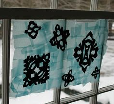 These snowflake silhouettes make gorgeous winter art projects for kids!  Simple enough for preschoolers, but fun for even big kids!  www.HowWeeLearn.com