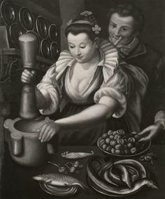 Boccardi, Cosimo — Campi Vincenzo - sec. Renaissance Food, Renaissance Clothing, Italian Renaissance, Historical Clothing, Kitchen Maid, 16th Century Fashion, Tudor Fashion, Oil Painting Tips, Visual Literacy