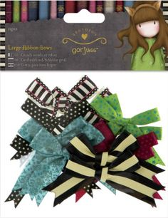 Santoro/Docrafts Gorjuss Large Ribbon Bows. Create beautiful cards, projects and gifts for your home and loved ones! This package contains twelve bows in six different styles and sizes (measures between 1-1/2x3 inches and 2x3-1/4 inches). Imported.