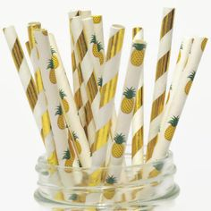 Gold Pineapple Straws Mix, Pineapples Party Decorations, Luau, Tropical Wedding, Bridal Shower, Gold Foil, Metallic