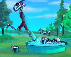 By wilyart- Gaster Blasters taking a bath Undertale Gaster, Undertale Memes, Undertale Ships, Undertale Cute, Undertale Fanart, Gaster Blaster Sans, Sans And Papyrus, Underswap, Pokemon