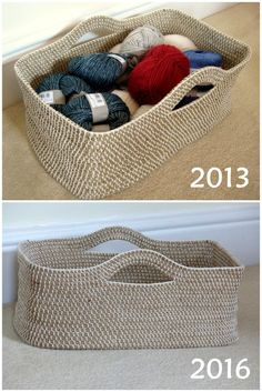 Crochet Rope Basket 3 years later – free pattern by Make My Day Creative
