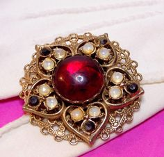 Beautiful Vintage Red Rhinestone w/ Opal Color Accents Gold Tone Filigree Brooch