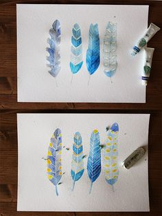 use masking fluid to draw fine white lines on watercolor paintings.