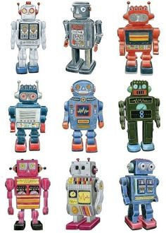 Retro Robot Drawings by Christine Berrie Illustration Vintage Robots, Retro Robot, Vintage Toys, Arte Robot, Robot Art, Robots Robots, Robot Costumes, Robot Illustration, Paper Toy