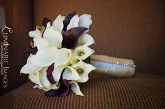 White calla lily bridal bouquet with dark black purple accents