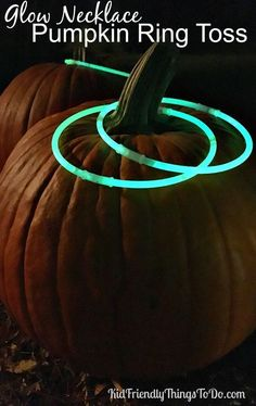 Halloween Ring Toss Game for Kids - Use Glow in the Dark Necklaces as rings for an easy & fun Pumpkin Ring Toss Game! - http://KidFriendlyThingsToDo.com
