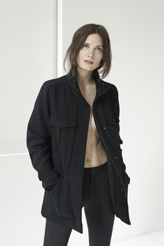 The Cargo Jacket in Black and the Cropped Kick Pant in Black.