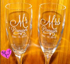 Personalized champagne flutes  Wedding Flutes  by MaggiesCraftTime, $38.00