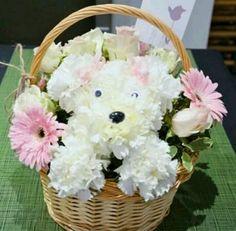 "Adorable ""Chrysanthemum Puppy""with Pink Gerber Daisies & White Roses Flower Basket Bouquet Simple Flowers, Beautiful Flowers, Unique Flower Arrangements, Cheap Wedding Decorations, Balloon Flowers, Arte Floral, Flower Basket, Flower Crafts, Floral Design"