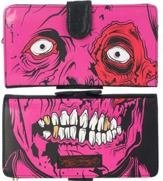 IRON FIST Large WALLET Purse GOLD DIGGER Zombie PINK PVC