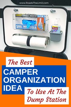 This DIY RV hand sanitizing station will make your life a whole lot cleaner and way more organized the next time you head to the dump station! limited DIY Hand Sanitizing Station {The BEST RV Organization Idea! Rv Camping Tips, Travel Trailer Camping, Camping Storage, Camping Ideas, Rv Storage, Rv Tips, Camping Outdoors, Tent Camping, Travel Trailer Living