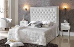 Bedroom Furniture, Beds, Headboards for beds Spain Diy Mirrored Furniture, Bedroom Furniture, Furniture Design, Bedroom Decor, White Upholstered Headboard, Master Room, Headboards For Beds, Beautiful Bedrooms, Home And Living
