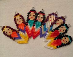 Authentic Aboriginal Made Ladies Earrings Made with delica glass beads. One bead at a time using brick stitch Beaded Earrings Native, Beaded Earrings Patterns, Native Beadwork, Native American Beadwork, Seed Bead Earrings, Beaded Hat Bands, Native Beading Patterns, Native American Crafts, Iron Beads