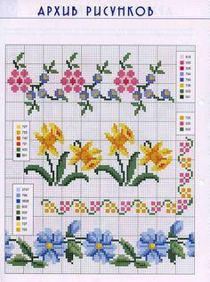 Gallery.ru / Фото #15 - просто рисунки и не только к вышиванкам - irisha-ira [] #<br/> # #Floral #Border,<br/> # #Cross #Stitch #Flowers,<br/> # #Crossstitch,<br/> # #Daffodils,<br/> # #Stitches,<br/> # #Cross #Stitch,<br/> # #Cross #Stitch,<br/> # #Cross,<br/> # #Bath<br/>