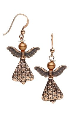 """Jewelry Design - Earrings with Antiqued Copper-Plated """"Pewter"""" Beads, Antiqued Copper Beads and Swarovski Crystal - Fire Mountain Gems and Beads"""