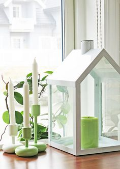 Iittala spring by Purodeco Feng Shui Tea Light Lanterns, Candle Lanterns, Candle Arrangements, Cute Little Houses, Nifty Crafts, Natural Candles, Nordic Interior, Old Bottles, Oil Lamps