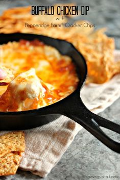 Buffalo Chicken Dip and Pepperidge Farm Cracker Chips by Cravings of a Lunatic Yummy Appetizers, Appetizer Recipes, Snack Recipes, Cooking Recipes, Snacks, Yummy Recipes, Tailgating Recipes, Tailgate Food, Chicken Dips