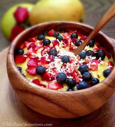 ooking for a quick, delicious, nutritious breakfast for tomorrow? Blend up this natural Mango Breakfast Bowl from With Raw Intentions    Base: blended fresh mango & frozen banana    Topping: blueberries, strawberries, and just a pinch of chopped almonds & shredded coconut
