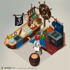 Here is the first concept art That I did for the game Tasty Town. Pirates, Concept Art, Tasty, Illustrations, Game, Artwork, Kitchen, Conceptual Art, Work Of Art