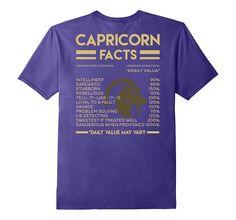 Capricorn Facts T-Shirt Zodiac Birthday Gift Back Print