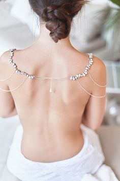 Back view of Victoria Necklace handcrafted with rhinestones, silver chain and Swarovski pearls.