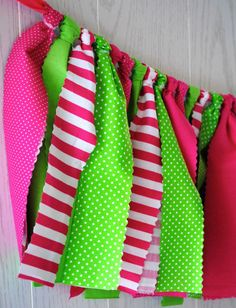 Preppy Pink and Green Fabric Tie Garland